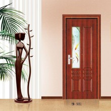 High quality PVC coated steel wood door with beautiful glass