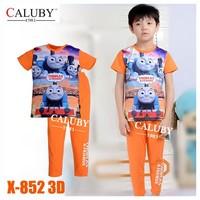 Baby Boys Orange Trains Clothing sets Kids Autumn -Summer Pajamas Set New 2015 Wholesale Children Cartoon Clothes X-852 3D
