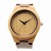 High Quality Brand Bamboo Watch Men's Wooden Watches With Genuine Cowhide Leather Band Luxury Wood Watches