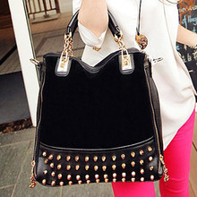 handbags Black tote bags fashion fashion studded suede bag S584