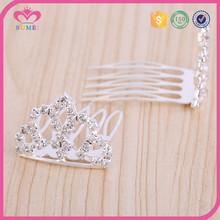 Simple mini rhinestone tiara crown with metal teeth