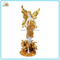 2015 best sell indoor resin statues plated gold angel