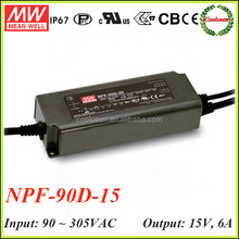 Meanwell NPF-90D-15 90w led power supply 15v 6a