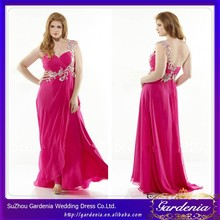 Newest Column One Shoulder Applique Sleeveless Invisible Zipper Low Back Floor Length Hot Pink Plus Size Evening Dress SC005