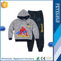Hot Sale Spiderman Baby Tracksuit Boys Girls Long Sleeve Shirt + Pant Sport Clothes CVC Velour Hoodies