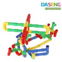 2015 new kids plastic pipe shape construction blocks teach puzzle toy set