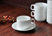 Hot Sale Fine porcelain white stackable coffee mug with saucer set for Wholesale
