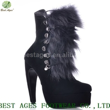 New Products Sheep Skin Suede Rabbit Hair High Heel Platform Shoes Woman Boots 2014