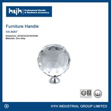Newly modern design diamond crystal glass pull / China crystal glass door knob