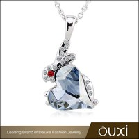 11439 OUXI Latest design crystal meaningful pendant trendy necklace