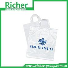 eco-friendly custom soft loop handle cloth packing plastic bag
