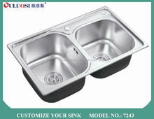 top level classic style short-time delivery used 3 compartment stainless steel sink 7243