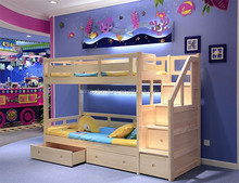 Twin over solid wood full Bunk Bed with trundle drawers#SP-C204B
