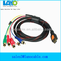 High quality nylon braid hdmi input to 5.1 rca output cable for hdtv,dvd,projector,pc