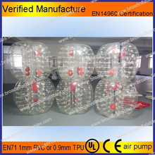 Manufacture 1.0mm thickness PVC 1.2M 1.5M 1.8M , body zorb ball , inflatable bumper ball , inflatable bubble football
