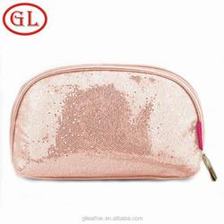 Promotional fashion Pink Spangle PU cosmetic travel bag