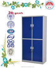 good quality Knock down colorful four door steel wardrobe with aluminium alloy , camlock for gym, school, hospital