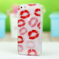 Painting tpu soft sexy red lips shape case for apple iphone 5