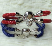 Chilli red Stingray Leather Bracelet sterling silver Skull and Bones Crossbones bracelet