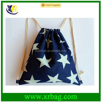 star cotton canvas students drawstring backpack bag