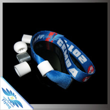 2014 Best Selling customized heat transfer wrist band with metal seal for event, festival, party, wedding