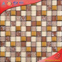 KS238 Gold Plating Crackle / Broken Glass Mosaic Kitchen Glass Wall Tile Patterns