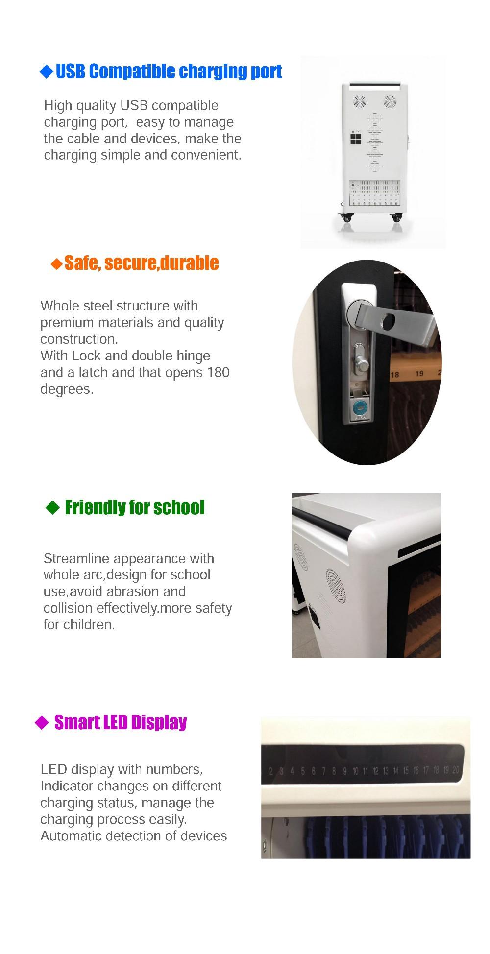 USB Tablet Carregamento cart SYNC & Charging cart chaging gabinete estação de carregamento