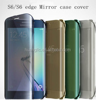 2015 Leather Phone case cover for S6,Clear View Smart Mirror case cover for Samsung Galaxy S6 S6 edge