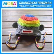 Handmade Knitted Toddler Children Sock Monkey Hat,Stripe Rainbow Monkey Beanie Wholesale
