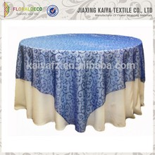Wedding flocking organza cheap new table overlay