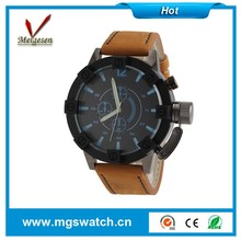 2015 fashion sport watches big case for business men Wristwatch soft Leather Strap