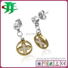 latest design China factory wholesale fashion 316L stainless steel big beautiful crystal drop earrings