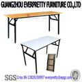 Mobília ao ar livre de madeira retangular mesadobrável com armação de metal, folding mesas de madeira, mesa de jantar