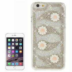 Wholesale White 3D Flower Pattern Diamond Encrusted Transparent Frame Plastic Hard Case for iPhone 6