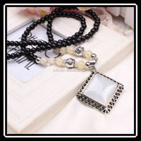 Brand Vintage Big Square Opal Long Black Beaded Necklace Pendant From Yiwu Market