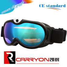 Carryon anti fog uv protection outdoor snow sport Full HD 1080P snowboard goggles with camera