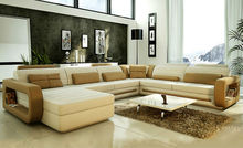 2016 Hot Sale Modern big white U-shaped genuine leather round Corner Sofa Best living room sofa 9119
