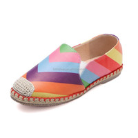 2015 new colorful bridal rainbow brazilian brands flat dress shoe for ladies women's slip on espadrilel shoes