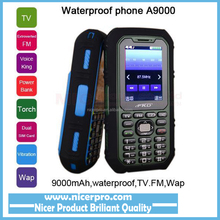 9000mAh long standby power bank torch TV FM voice king Vibration Dual SIM whatsapp cell Waterproof mobile phone A9000