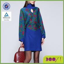 vente chaude robe européenne design femmes col roulé manches bat grande taille robe pull