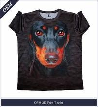 Men's round neck digital big dog face printed 3d t-shirt