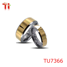 2015 Fashion tungsten gay men ring sets with gold plating for lovers ,wedding ring
