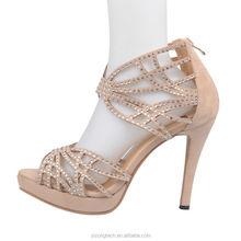 2015 JUSITY Beige High Heel Footwear Ladies Fashion Shoes