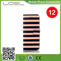 Japan and South Korea style colored stripes Pattern leather wallet case for iphone6 4.7 BO-CPI6019(7)