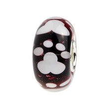 Wholesale Dark Red Puppy Dog Paw Print Murano Glass Bead with 925 Sterling Silver Tube For European Bracelets