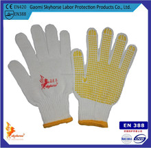 13 gauge white nylon glove with pvc dots