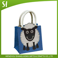 China wholesale custom printing cute cartoon Shaun the Sheep kids hand eco jute tote bag for promotion party gift