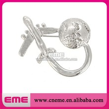 New style plane and earth rhinestone brooches pin wholesale plane pin