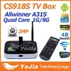 CS918S 1G Ram 8G Rom Android 4.2 TV BOX 2.0MP Camera 3D Mic Allwinner A31S Quad Core Android tv box 4k