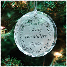Engraved Round Crystal Ornament For New Year Decoration